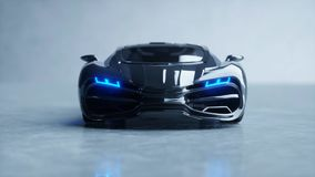 Black futuristic electric car with blue light. Concept of future. 3d rendering. Stock Images