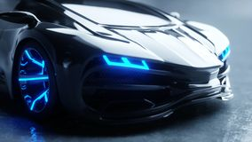 Black futuristic electric car with blue light. Concept of future. 3d rendering. Black futuristic electric car with blue light. Concept of future. 3d rendering royalty free illustration
