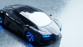 Black futuristic electric car with blue light. Concept of future. Realistic 4k animation. Black futuristic electric car with blue light. Concept of future stock video footage