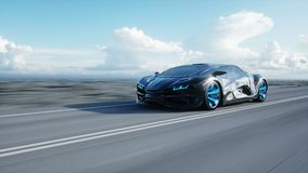 Black futuristic electric car on highway in desert. Very fast driving. Concept of future. Loopable. footage. Realistic. 4k animation stock video