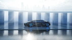 Black futuristic electric car on seafront. Urban fog. Concept of future. Realistic 4k animation.