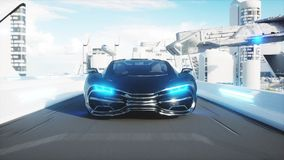 Black futuristic electric car very fast driving in sci fi sity, town. Concept of future. 3d rendering. Stock Image