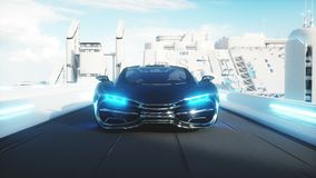 Black futuristic electric car very fast driving in sci fi sity, town. Concept of future. Realistic 4k animation. Black futuristic electric car very fast driving stock video footage