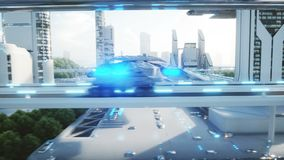 Black futuristic electric car very fast driving in sci fi sity, town. Concept of future. Realistic 4k animation.