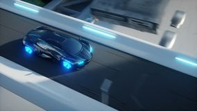 Black futuristic electric car very fast driving in sci fi sity, town. Concept of future. Realistic 4k animation. Black futuristic electric car very fast driving stock video