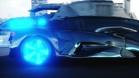 Black futuristic electric car very fast driving in sci fi sity, town. Concept of future. Realistic 4k animation. Black futuristic electric car very fast driving stock footage