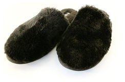 Black Fuzzy Slippers Stock Photo