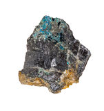 Black Galena. Stone with bright azure inclusion from Morocco Isolated Royalty Free Stock Images