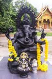 Black Ganesh statue in Thai temple Royalty Free Stock Images