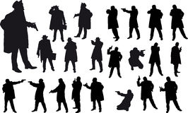 Black gangster silhouette. Black silhouette of man with gun and and hat Stock Photography