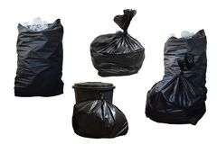 Black garbage bag or trash closed and there are bottle recycling Royalty Free Stock Photos