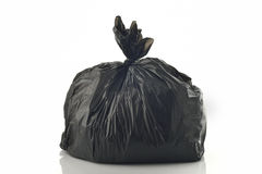 Black Garbage bag on White Background Royalty Free Stock Photo