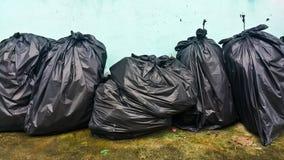 Black garbage bags Stock Photos