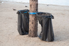 Black garbage bags Stock Photo