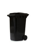 Black garbage bin on white background Royalty Free Stock Images