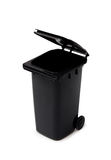 Black garbage bin on white background Stock Photography