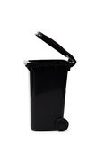 Black garbage bin on white background Royalty Free Stock Photography