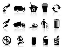 Black garbage icons set Stock Photography