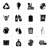 Black Garbage and Recycling Icons. Vector icon set royalty free illustration