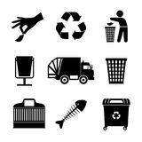 Black garbage icons. Black garbage track and trash bins, recycle sign icons, vector illustration Royalty Free Stock Photography