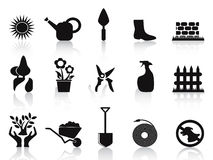 Black garden icons set. Black garden icons set on white background Stock Image