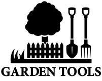 Black garden landscaping icon. Isolated black garden landscaping icon with tree, shovel and pitchfork Royalty Free Stock Photos