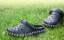 Black garden shoes of crocs style. On a green meadow Stock Images