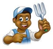 Black Gardener Cartoon Character Royalty Free Stock Photos
