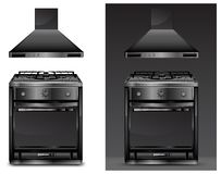 Black gas cooker over Stock Photos