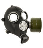 Black gas-mask isolated on white background. The black gas-mask close up, on white background; isolated Stock Photography
