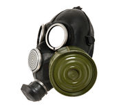 Black gas-mask isolated on white background. The black gas-mask close up, from one side, on white background; isolated Stock Photos
