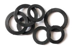 Black Gaskets. Set of gaskets isolated on white background Royalty Free Stock Photography