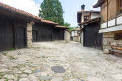 Black Gate on a stone street in Koprivshtitsa, Bulgaria Stock Image