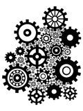Black gears background. Isolated black gears group set on white background Stock Photo
