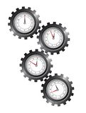 Black gears with clock Royalty Free Stock Images