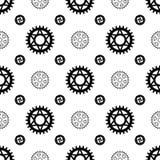 Black gears on white seamless pattern stock illustration