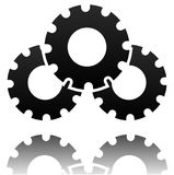 Black gearwheel, gear symbol. Maintance, repair, settings   Royalty Free Stock Images