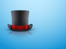 Black gentleman hat cylinder and red ribbon. Stock Photography