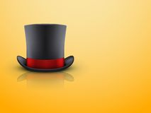 Black gentleman hat cylinder and red ribbon. Stock Images
