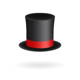 Black gentleman hat cylinder with red ribbon. Elegance and aristocratic symbol. Volumetric icon isolated on white background. Vect Stock Photos