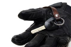 Black Genuine leather Motorcycle Glove with High Security Motorc. Ycle Chip Key on iSolated White Background Stock Photo