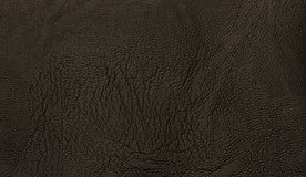 Black genuine leather texsture background with grain surface. Stock Photos
