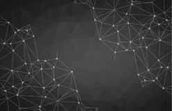 Black geometric graphic abstract polygonal space in dark background with connecting dots and lines, Connection structure, Digital royalty free illustration