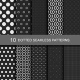 10 black geometric seamless patterns with dots. Black and white texture, vector seamless patterns Stock Photos
