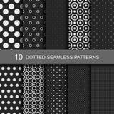 10 black geometric seamless patterns with dots Stock Photos