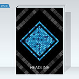 Black geometry design Cover brochure. Blue square on black backgrounds. Dark design Cover brochure. Blue square on black backgrounds. Vector template Layout for Stock Photo