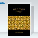 Black geometry design Cover brochure. Dark design Cover brochure. Gold square, geometry backgrounds. Vector template Layout for annual report, book cover Stock Photos