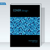 Black geometry design Cover brochure. Vector template Layout for annual report, book cover, headline,. Design Cover brochure color blue  square on black Stock Images