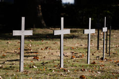 Black german war crosses. Close view of a black crosses in a german war cemetery in France stock images