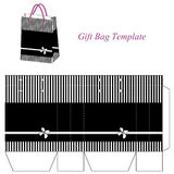 Black gift bag template with stripes and flower Stock Photos